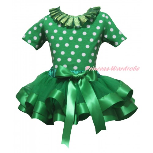 Kelly Green White Dots Baby Pettitop Kelly Green Lacing & Kelly Green Trimmed Newborn Pettiskirt NG2265