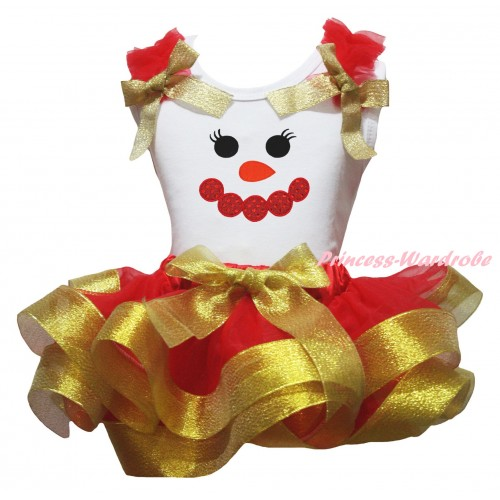 Christmas White Baby Pettitop Red Ruffles Gold Bow & Sparkle Red Snowman Face Print & Red Gold Trimmed Newborn Pettiskirt NG2274