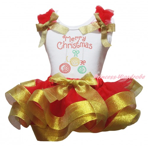 Christmas White Baby Pettitop Red Ruffles Gold Bow & Sparkle Rhinestone Christmas Lights Print & Red Gold Trimmed Newborn Pettiskirt NG2275