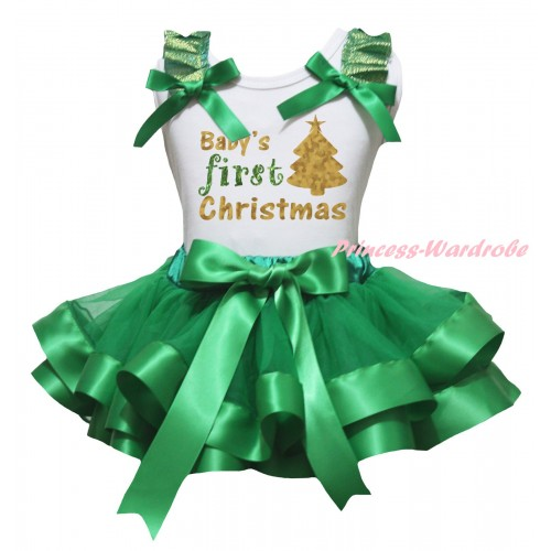 Christmas White Baby Pettitop Kelly Green Ruffles Bow & Sparkle Baby's First Christmas Painting & Kelly Green Trimmed Newborn Pettiskirt NG2277