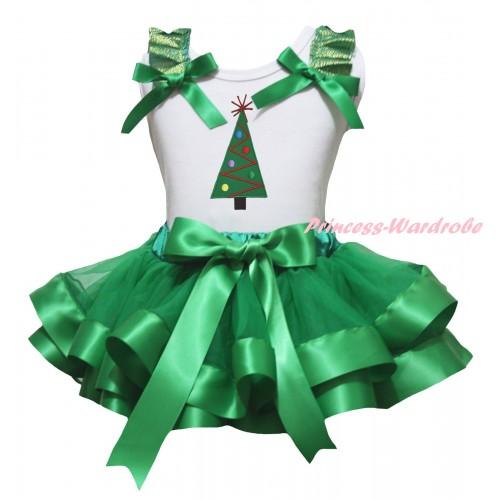 Christmas White Baby Pettitop Kelly Green Ruffles Bow & Christmas Tree Print & Kelly Green Trimmed Newborn Pettiskirt NG2278