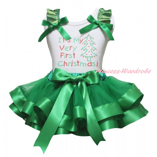 Christmas White Baby Pettitop Kelly Green Ruffles Bow & Sparkle Rhinestone It's My Very First Christmas print & Kelly Green Trimmed Newborn Pettiskirt NG2285