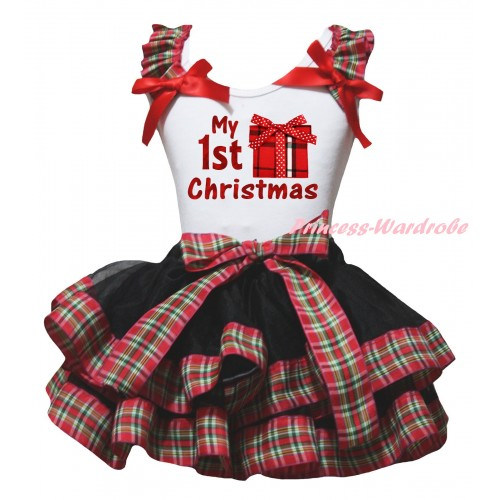 Christmas White Baby Pettitop Red Green Checked Ruffles Red Bow & My 1st Christmas Painting & Gift Print & Black Red Green Checked Trimmed Newborn Pettiskirt NG2286