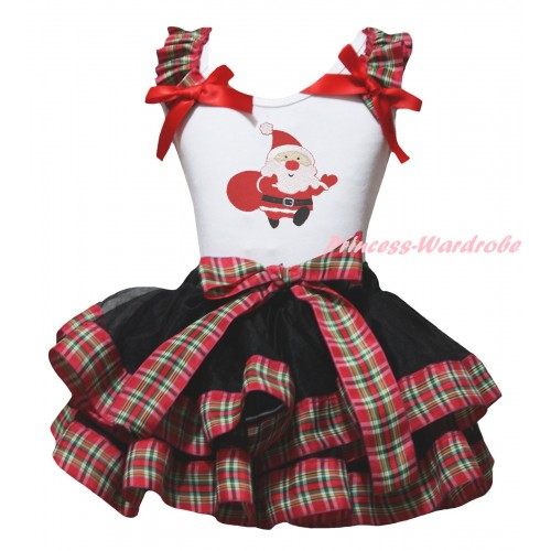Christmas White Baby Pettitop Red Green Checked Ruffles Red Bow & Santa Claus Print & Black Red Green Checked Trimmed Newborn Pettiskirt NG2290