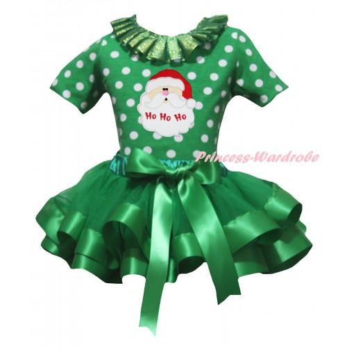 Christmas Kelly Green White Dots Baby Pettitop Kelly Green Lacing & Santa Claus Print & Kelly Green Trimmed Newborn Pettiskirt NG2293