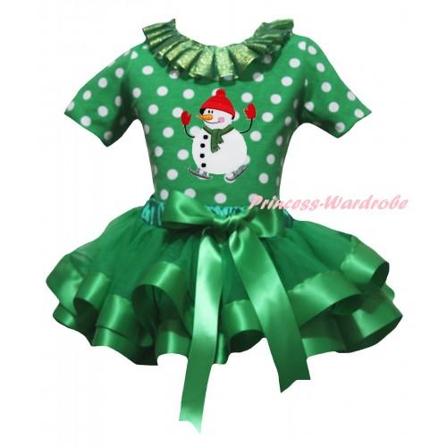 Christmas Kelly Green White Dots Baby Pettitop Kelly Green Lacing & Ice-Skating Snowman Print & Kelly Green Trimmed Newborn Pettiskirt NG2295