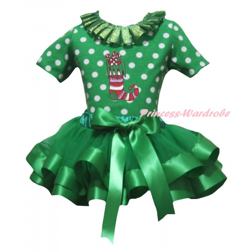 Christmas Kelly Green White Dots Baby Pettitop Kelly Green Lacing & Christmas Sock Print & Kelly Green Trimmed Newborn Pettiskirt NG2296