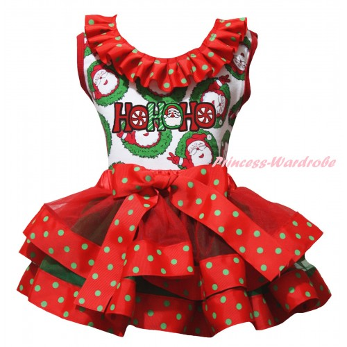 Christmas Santa Claus Baby Pettitop Red Green Dots Lacing & HOHOHO Santa Claus Print & Red Green Dots Trimmed Newborn Pettiskirt NG2302