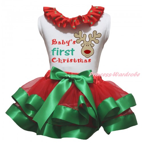 Christmas White Baby Pettitop Red Green Dots Lacing & Baby's First Christmas Painting & Christmas Reindeer Print & Red Kelly Green Trimmed Newborn Pettiskirt NG2305