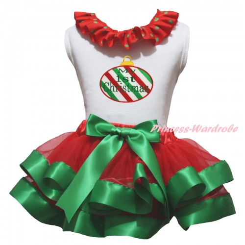 Christmas White Baby Pettitop Red Green Dots Lacing & Red White Green Striped Christmas Lights Print & Red Kelly Green Trimmed Newborn Pettiskirt NG2306
