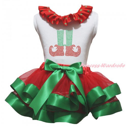 Christmas White Baby Pettitop Red Green Dots Lacing & Sparkle Rhinestone Elf Socks Print & Red Kelly Green Trimmed Newborn Pettiskirt NG2307