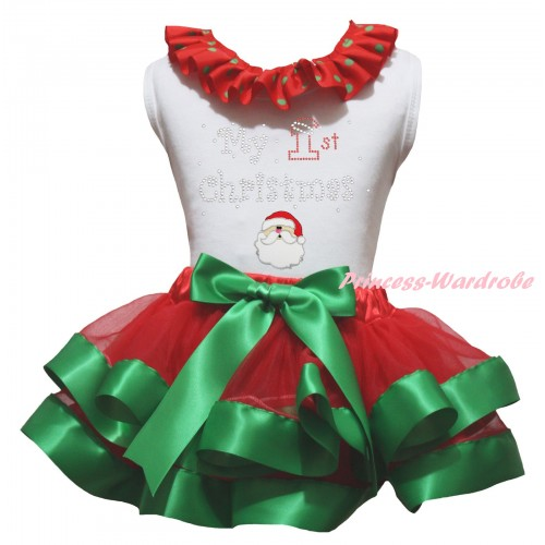 Christmas White Baby Pettitop Red Green Dots Lacing & Sparkle Rhinestone My 1st Christmas Santa Claus Print & Red Kelly Green Trimmed Newborn Pettiskirt NG2308