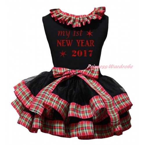 Black Baby Pettitop Red Green Checked Lacing & Sparkle My 1st New Year 2017 Painting & Black Red Green Checked Trimmed Newborn Pettiskirt NG2315