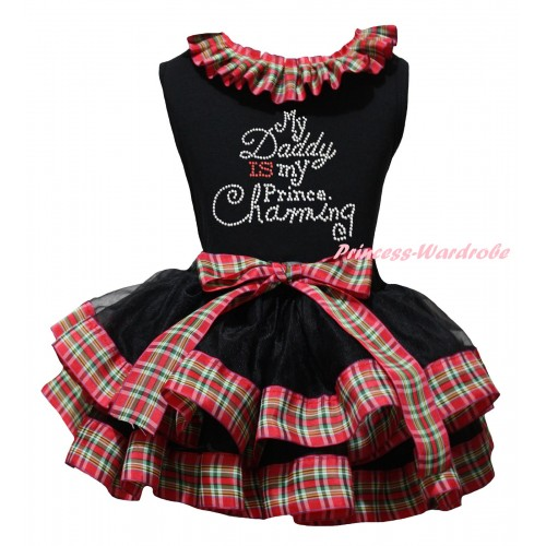 Black Baby Pettitop Red Green Checked Lacing & Sparkle Rhinestone Daddy Is My Prince Charming Print & Black Red Green Checked Trimmed Newborn Pettiskirt NG2320