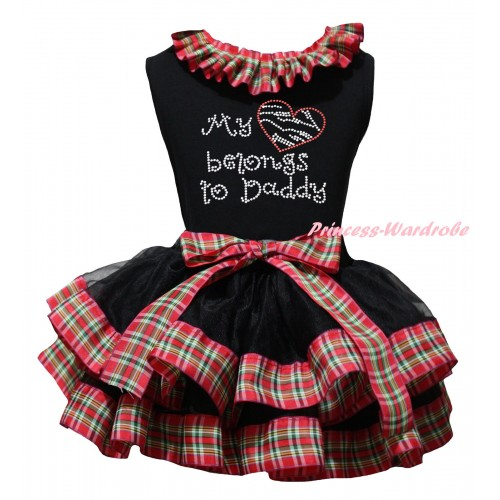 Black Baby Pettitop Red Green Checked Lacing & Sparkle Rhinestone My Love Belong To Daddy Print & Black Red Green Checked Trimmed Newborn Pettiskirt NG2321