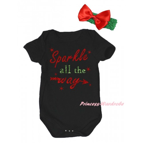 Christmas Black Baby Jumpsuit & Sparkle All The Way Painting & Green Headband Red Bow TH786