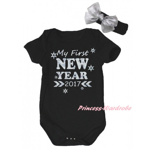 Black Baby Jumpsuit & Sparkle My First New Year 2017 Painting & Black Headband Silver Bow TH788