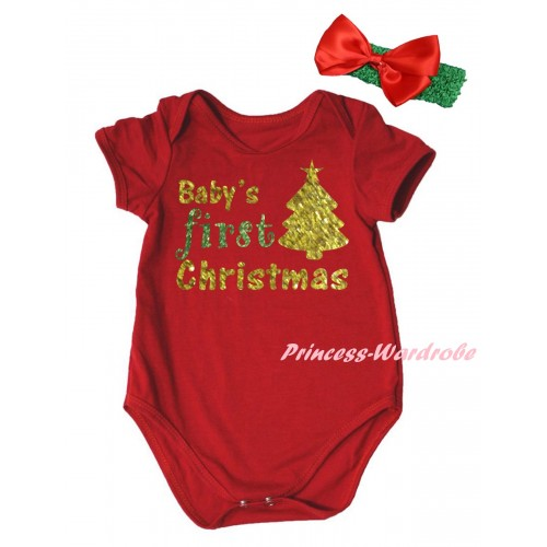Christmas Red Baby Jumpsuit & Sparkle Baby's First Christmas Tree Painting & Green Headband Red Bow TH790
