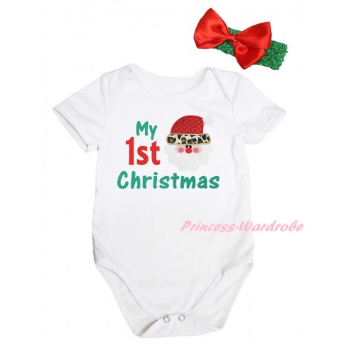 Christmas White Baby Jumpsuit & My 1st Christmas Painting & Leopard Santa Claus Print & Green Headband Red Bow TH791