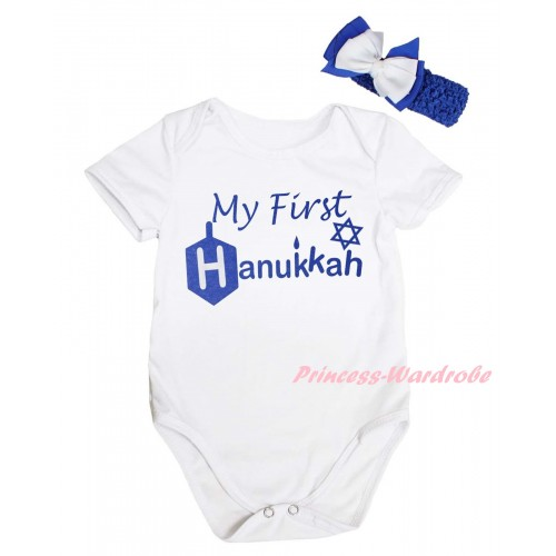 White Baby Jumpsuit & My First Hanukkah Painting & Blue Headband White Bow TH793