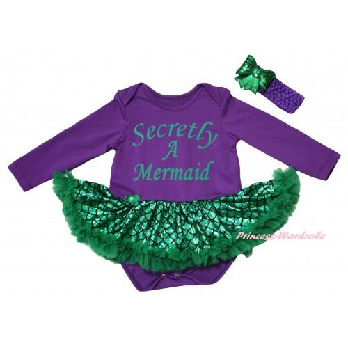 Dark Purple Long Sleeve Baby Bodysuit Jumpsuit Green Scale Pettiskirt & Secretly A Mermaid Painting & Dark Purple Headband Kelly Green Bow JS6241