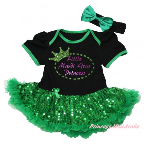 Mardi Gras Black Baby Bodysuit Bling Kelly Green Sequins Pettiskirt & Sparkle Little Mardi Gras Princess Painting JS6260