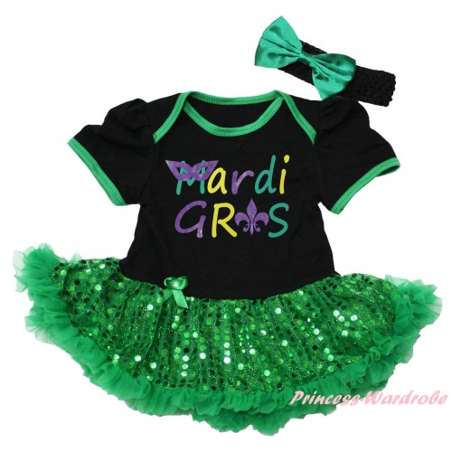 Mardi Gras Black Baby Bodysuit Bling Kelly Green Sequins Pettiskirt & Mardi Gras Painting JS6261