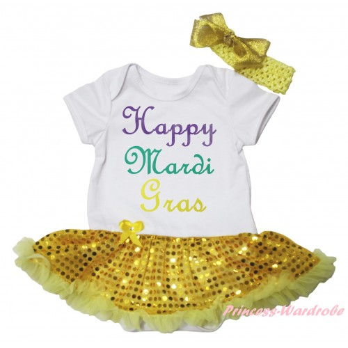 Mardi Gras White Baby Bodysuit Bling Yellow Sequins Pettiskirt & Happy Mardi Gras Painting JS6263