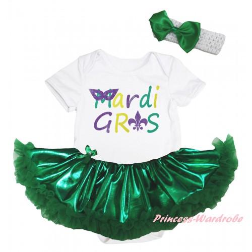 Mardi Gras White Baby Bodysuit Bling Kelly Green Pettiskirt & Mardi Gras Painting JS6268