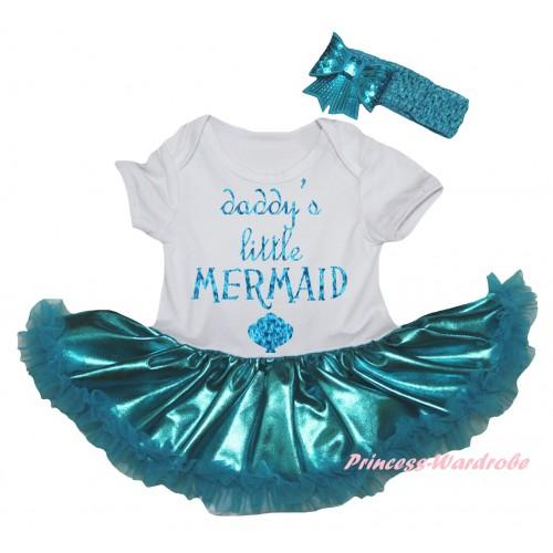 White Baby Bodysuit Bling Teal Green Pettiskirt & Sparkle Light Blue Daddy's Little Mermaid Painting JS6270