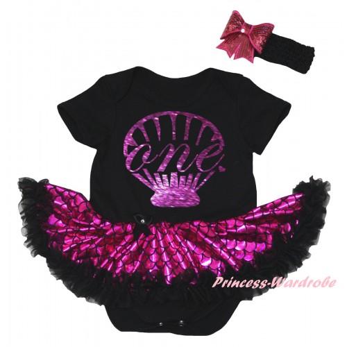 Black Baby Jumpsuit Hot Pink Scale Pettiskirt & Sparkle Dark Purple Mermaid Sea Shell Painting JS6311