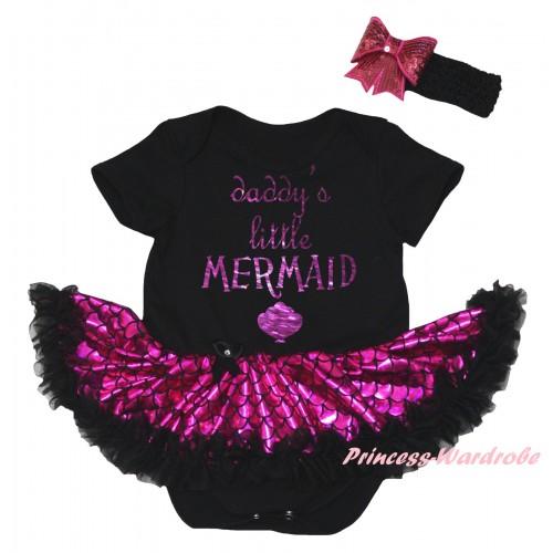 Black Baby Jumpsuit Hot Pink Scale Pettiskirt & Sparkle Dark Purple Daddy's Little Mermaid Painting JS6314