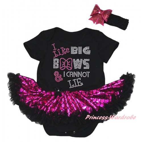 Black Baby Jumpsuit Hot Pink Scale Pettiskirt & Sparkle Rhinestone I Like Big Bows Print JS6315
