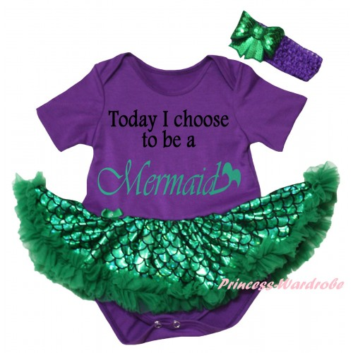 Dark Purple Baby Jumpsuit Green Scale Pettiskirt & Today I Choose To Be A Mermaid Painting JS6319