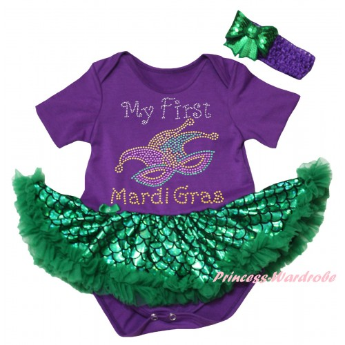 Mardi Gras Dark Purple Baby Jumpsuit Green Scale Pettiskirt & Sparkle Rhinestone My First Mardi Gras Clown Mask Print JS6322