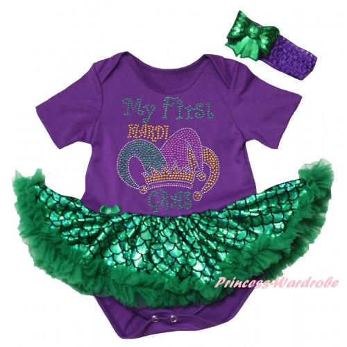 Mardi Gras Dark Purple Baby Jumpsuit Green Scale Pettiskirt & Sparkle Rhinestone My First Mardi Gras Clown Hat Print JS6323