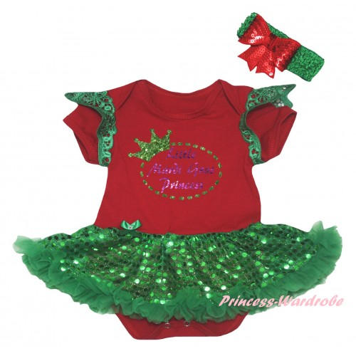 Mardi Gras Green Ruffles Red Baby Jumpsuit Bling Kelly Green Sequins Pettiskirt & Sparkle Little Mardi Gras Princess Painting JS6326
