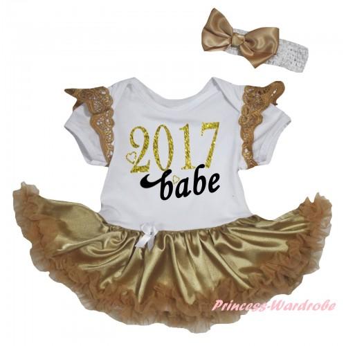 Goldenrod Ruffles White Baby Jumpsuit Goldenrod Pettiskirt & Sparkle Gold Black 2017 Babe Painting JS6342