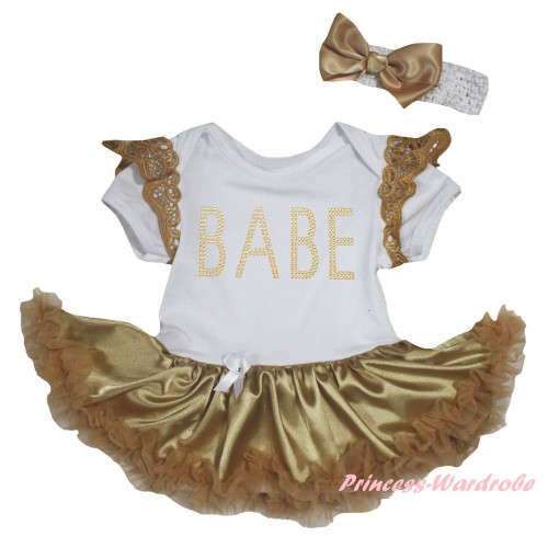 Goldenrod Ruffles White Baby Jumpsuit Goldenrod Pettiskirt & Sparkle Rhinestone BABE Print JS6348