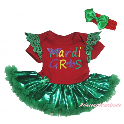 Mardi Gras Green Ruffles Red Baby Jumpsuit Bling Kelly Green Pettiskirt & Mardi Gras Painting JS6359
