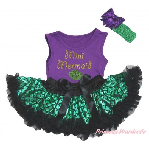 Dark Purple Baby Pettitop & Sparkle Gold Mini Mermaid Painting & Black Green Scale Newborn Pettiskirt & Kelly Green Headband Dark Purple Bow NG2323