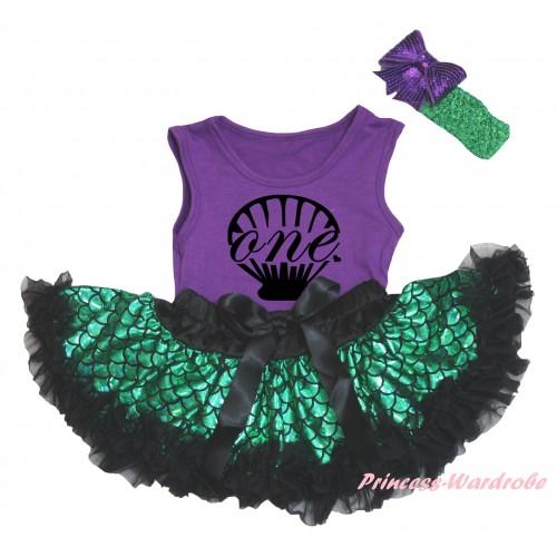 Dark Purple Baby Pettitop & Black Mermaid Sea Shell Painting & Black Green Scale Newborn Pettiskirt & Kelly Green Headband Dark Purple Bow NG2326