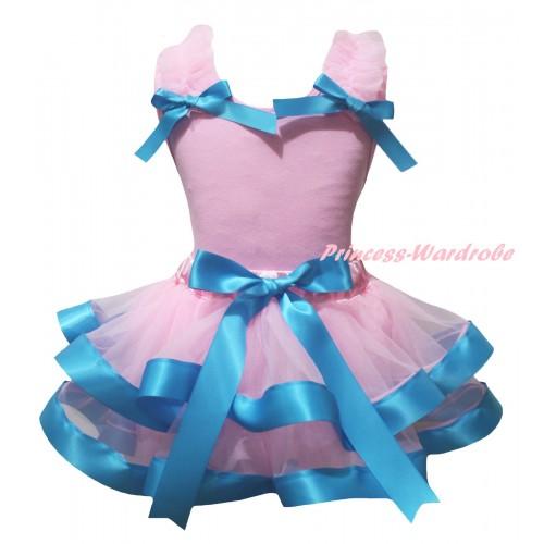 Light Pink Baby Pettitop Light Pink Ruffles Light Blue Bows & Light Pink Blue Trimmed Newborn Pettiskirt NG2342