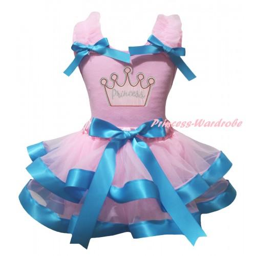 Light Pink Baby Pettitop Light Pink Ruffles Light Blue Bows & Light Pink Princess Crown Print & Light Pink Blue Trimmed Newborn Pettiskirt NG2343