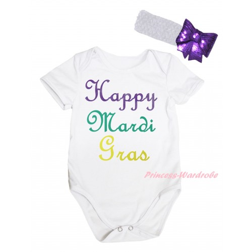 Mardi Gras White Baby Jumpsuit & Happy Mardi Gras Painting & White Headband Dark Purple Bow TH810