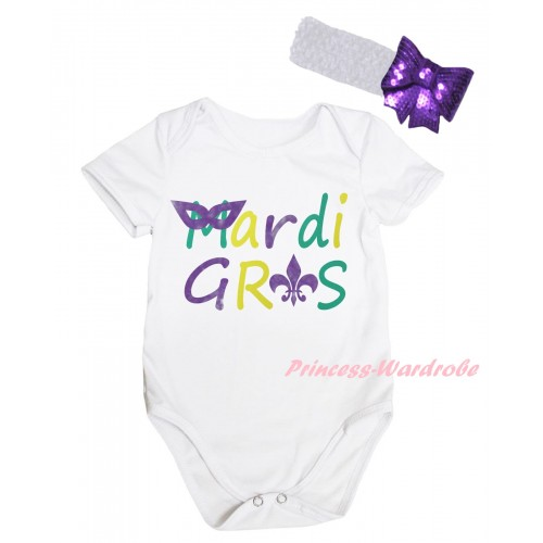 Mardi Gras White Baby Jumpsuit & Mardi Gras Painting & White Headband Dark Purple Bow TH811