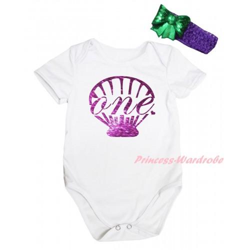 White Baby Jumpsuit & Dark Purple Mermaid Sea Shell Painting & Dark Purple Headband Kelly Green Bow TH812