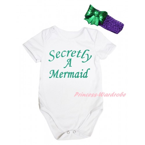 White Baby Jumpsuit & Kelly Green Secretly A Mermaid Painting & Dark Purple Headband Kelly Green Bow TH815