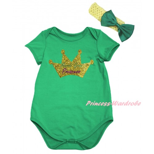 Mardi Gras Kelly Green Baby Jumpsuit & Sparkle Mardi Gras Princess Crown Painting & Yellow Headband Kelly Green Bow TH820