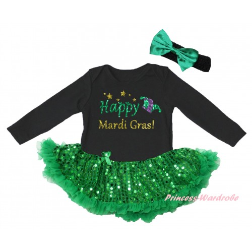 Mardi Gras Black Long Sleeve Baby Bodysuit Jumpsuit Bling Kelly Green Sequins Pettiskirt & Sparkle Happy Mardi Gras! Clown Hat Painting & Black Headband Kelly Green Bow JS6394